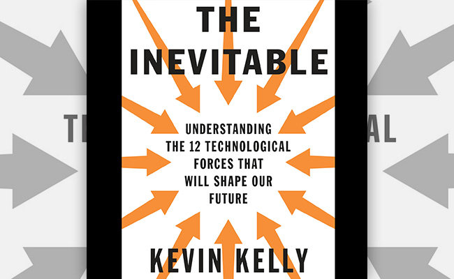 Book cover for The Inevitable, an audiobook about technology and how it will impact the future of a workplace.