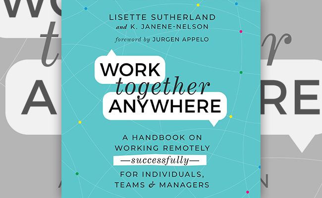 Book cover for Work Together Anywhere, an audiobook about remote work.